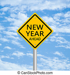 New Year Ahead road sign with blue cloudy sky