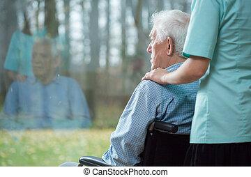 Assistere, anziano, infermiera, uomo
