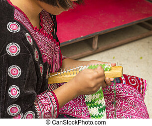 asian hill tribe tradition knitting - asian hill tribe girl...