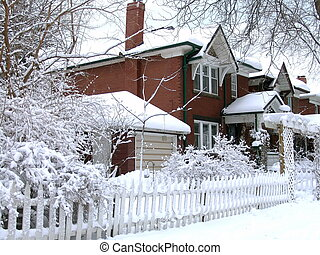 Winter house - House covered by snow after blizzard Winter...