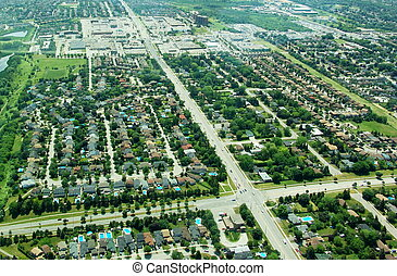 Aerial view of residential area. Ontario, Canada. Summer...