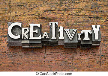 creativity word in metal type - creativity word in mixed...