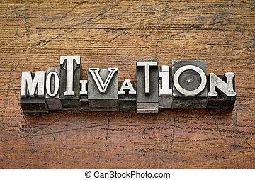 motivação, palavra, em, metal, tipo,