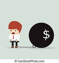 Businessman locked in a debt ball and chain, Debt concept,...