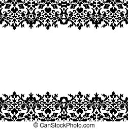 Damask Border - Border or frame of black damask