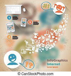 Infographic Flat Design Illustration for Web Social Network...