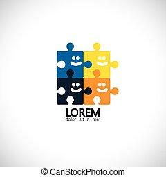 abstract people puzzle unity happiness concept vector icon