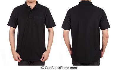 blank polo shirt set front, back on man isolated on white...