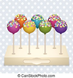 Cake Pops set - Tasty delicacy Cake Pops on a stand Vector...