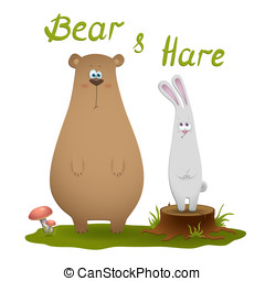 bear and hare - Illustration of cute bear and rabbit hare