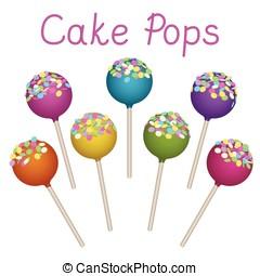 Cake Pops set - Tasty delicacy Cake Pops Vector...