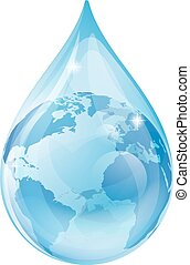 Water drop earth concept - An illustration of a water drop...