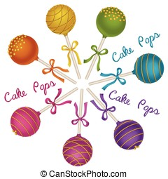 Cake Pops - Set of tasty candy. Delicacy Cake Pops with gold...