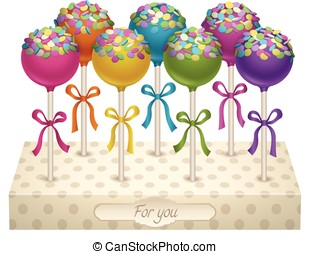 Cake Pops - Tasty delicacy Cake Pops Vector Illustrations...