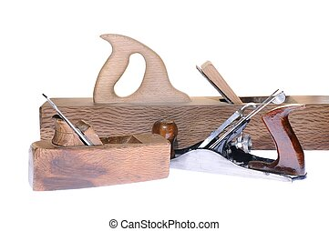 Antique woodworking tools on white background