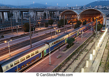 Railway Station In Nice at night, France - NICE, FRANCE -...