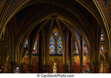 Paris - Interiors of the Sainte-Chapelle (Holy Chapel). The...