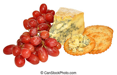 Red Grapes And Blue Stilton Cheese - Bunch of red grapes and...