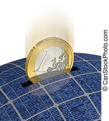 Saving Money with Solar Power 2 - One Euro coin is saved...