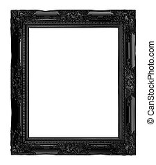 antique black frame isolated on white background, clipping...