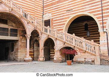 Staircase of reason in courtyard the Palazzo della Ragione...