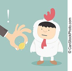 Businessman stealing golden eggs
