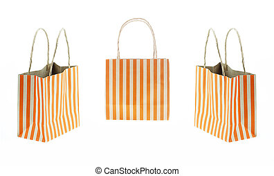 Set 3 Brown paper bag orange stripes isolated on white