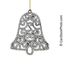 Christmas silver bell and Accessories isolated on white...