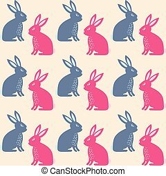 Rabbit seamless texture, endless vector illustration...