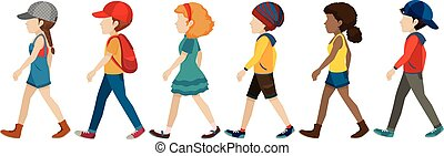 Faceless teenagers walking on a white background