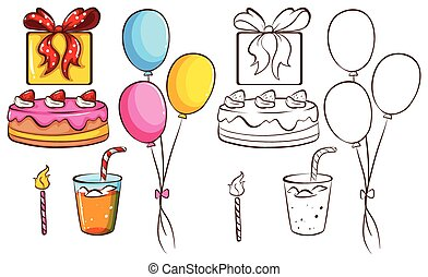 A birthday celebration on a white background