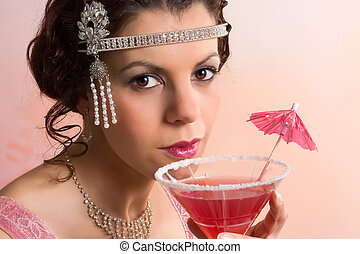 1920s vintage woman with cocktail - Beautiful young vintage...