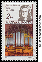 Stamp printed in Hungary shows Johann Sebastian Bach -...