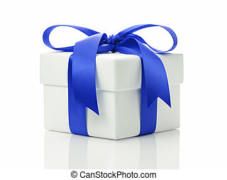 white gift box with blue ribbon bow