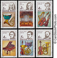 Stamp printed in Hungary shows Georg Frederic Hande -...