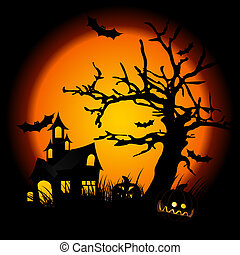 halloween night with pumpkin in grass tree bat and hunting...