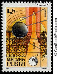 estampilla, impreso, en, Hungría, exposiciones, Sputnik, I,...
