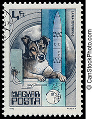 Stamp printed in Hungary shows Laika dog - HUNGARY - CIRCA...