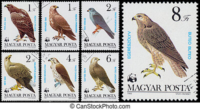 Set of stamps printed in Hungary shows quot;Bird of...