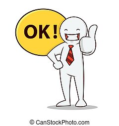 businessman thumbs up - Business people smiling with his...