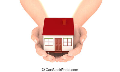 Hands carry house loop.You can replace background using Luma...