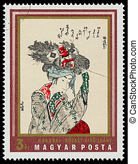 Stamp printed in Hungary shows Girl with fagot - HUNGARY -...