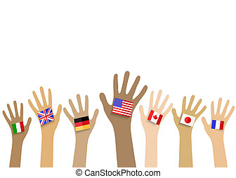 Collection of hands with national flags, isolated in white...