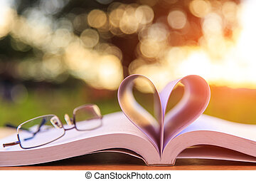 Close up book and glasses on table in sunset time
