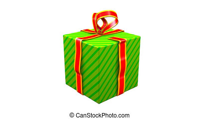 Gift Opening - Opening green box with unwrapping red ribbon....