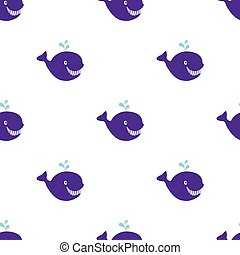 Seamless vintage Whale background, hand drawn vector illustration.