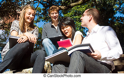 Happy Students - Four college students having fun on the...