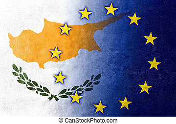 Cyprus and European Union Flag painted on leather texture