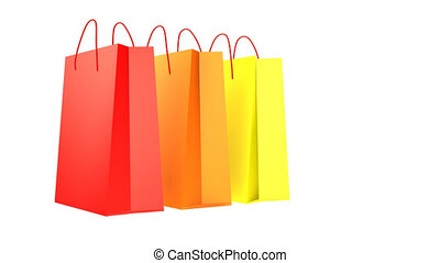 Five Shopping Bags - Paper bags are appearing on the white...
