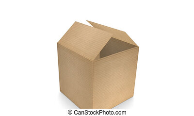 Cardboard Box with Zoom - Opening cardboard box with zoom...